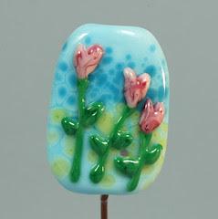 Love Blooms BlueBetween Lampwork Glass Bead