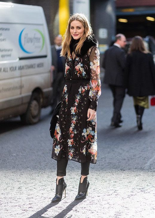 Le Fashion Blog Olivia Palermo London Fashion Week Floral Dress Layered Leather Skinny Pants Heeled Booties Via Stylecaster