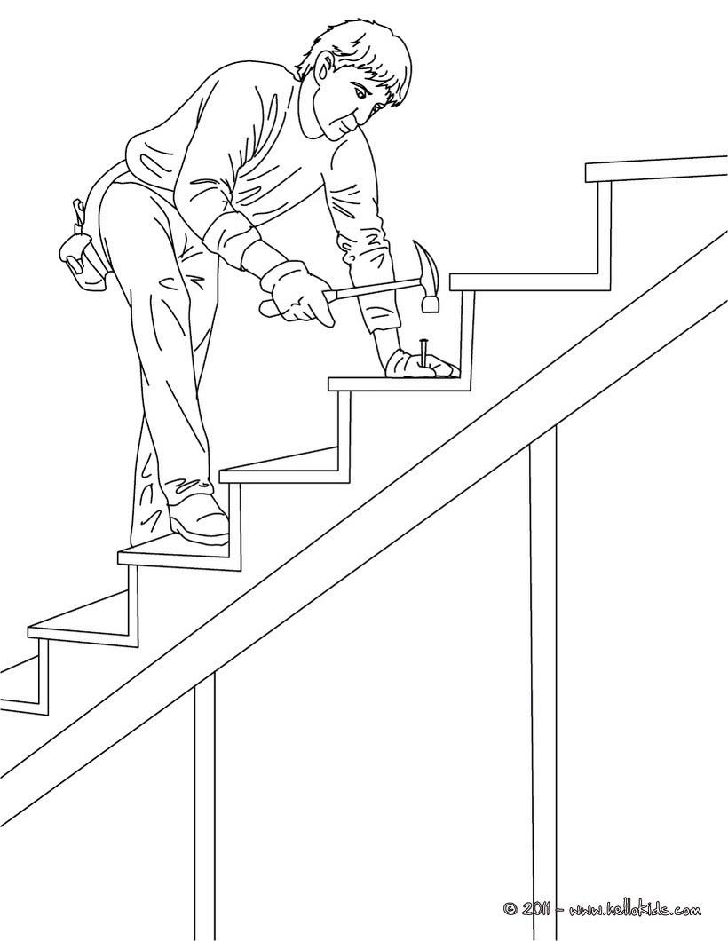 Tischler auf Holztreppe zum Ausmalen