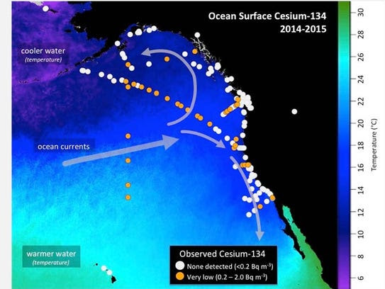 Location of seawater samples taken by scientists and