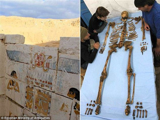 The 3,650-year old skeleton of King Senebkay (pictured right) has revealed the pharaoh died a violent death from blows to the head with axes. Archaeologists uncovered the tomb, complete with paintings, last year