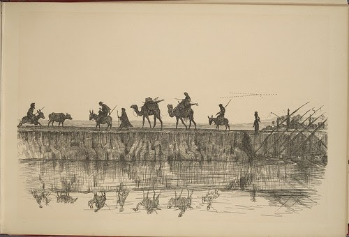 On the Nile - Alexandria - (camel train adjacent to river)