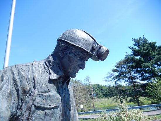 Detail of miner statue