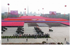 Members of North Korea's military at the 65th anniversary of North Korea Labor Party.
