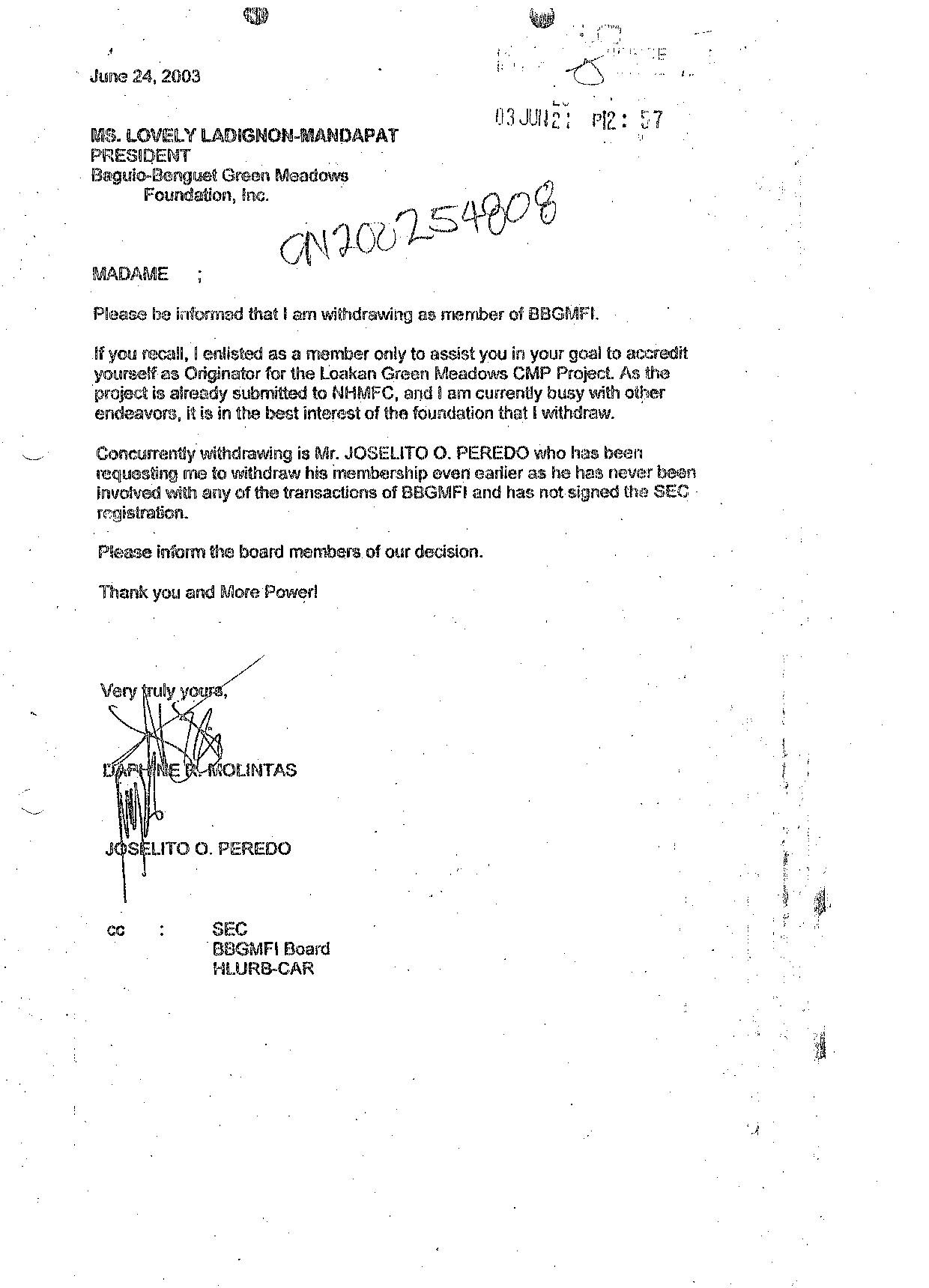 23 June 2003 letter copied to the Securities and Exchange Commission ...