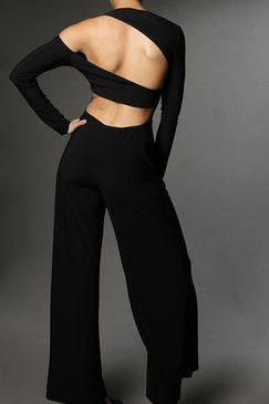 BLACK Sexy Cut Out Open Back Solid Palazzo Jumpsuit