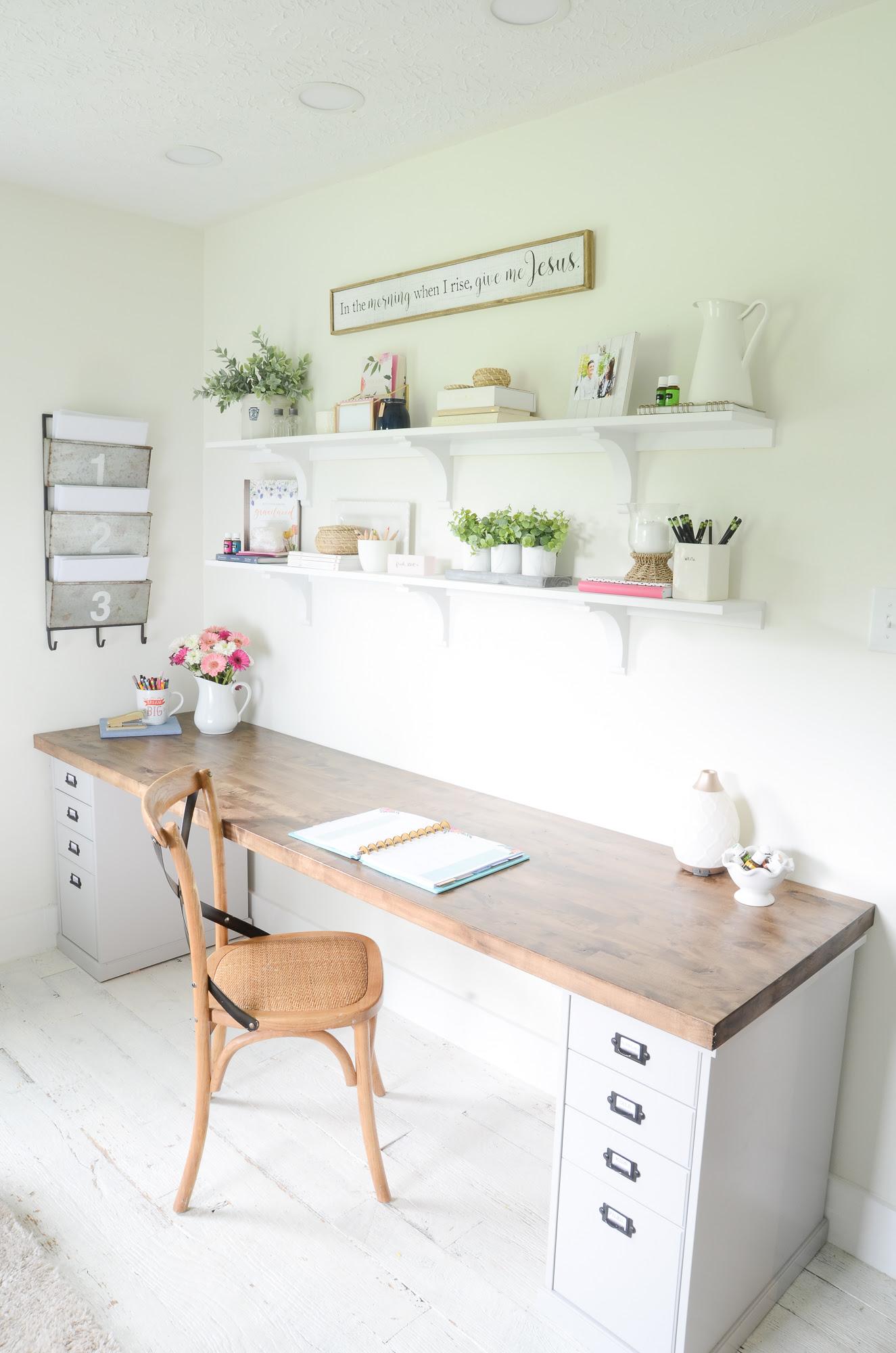 DIY Butcher Block Desk for my Home Office - Beneath My Heart
