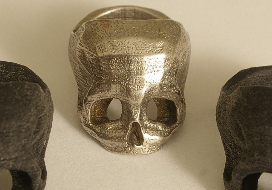 Bespoke 3D printed Skull Ring in Stainless Steel