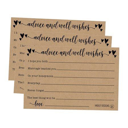 50 4x6 Kraft Rustic Wedding Advice & Well Wishes For The