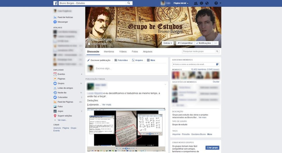 Grupo tem mais de 10,4 mil membros no Facebook que tentam decodificar livros de jovem desaparecido no Acre (Foto: Reprodução/Facebook)