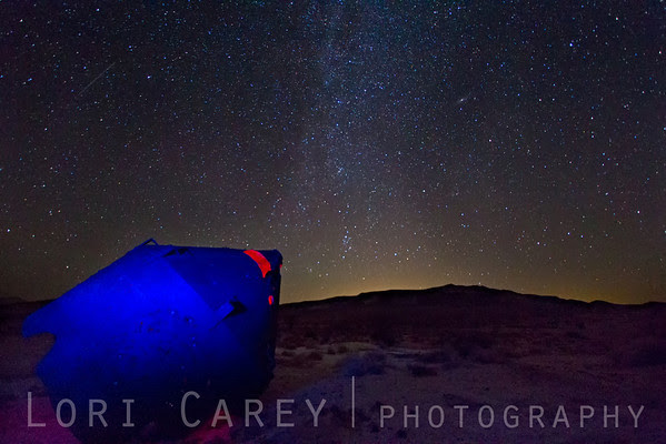 Crash Landing - Milky Way and mining equipment at the Holly Mine in the Mojave desert