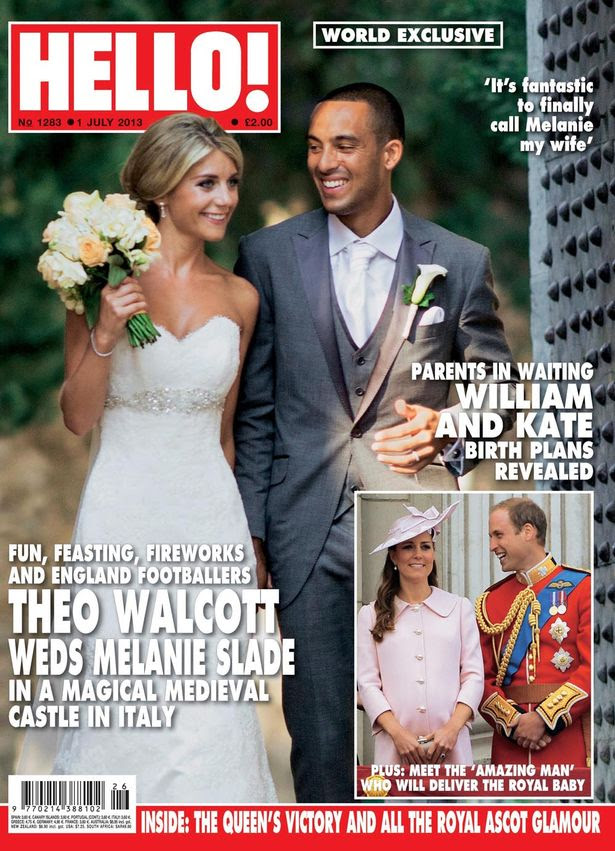 Theo Walcott as he marries his childhood sweetheart Melanie Slade