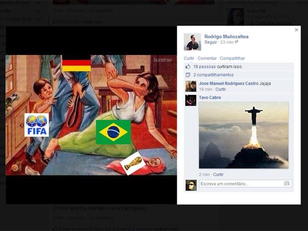 Imagem que circula na web mostra Brasil tomando uma surra da Alemanha (Foto: Reprodução/Facebook)