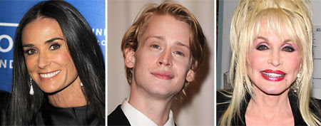 L-R: Demi Moore (Steve Granitz/WireImage); Macaulay Culkin (Steve Granitz/WireImage); Dolly Parton (Bruce Glikas/Getty
