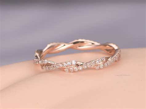 Twisted shape,Diamond wedding band 14k rose gold,FULL