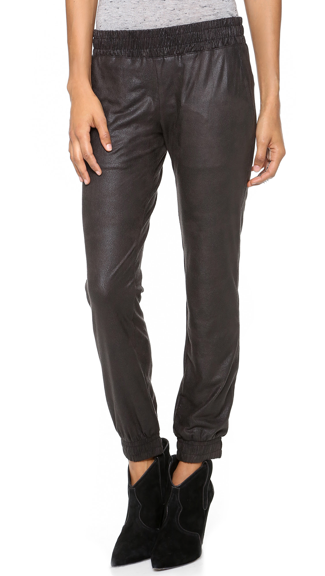 monrow faux leather pants  black in black  lyst