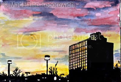 Suburban Sunset ACEO