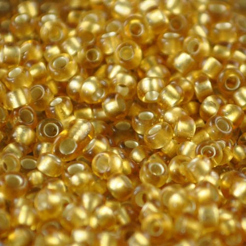 tb8r22bf Japanese Seedbeads - 8/0 Toho Seedbeads - Frosted Silver-Lined Medium Gold