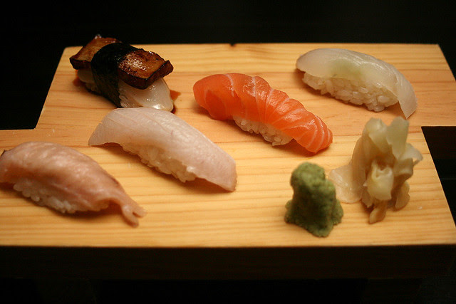 Sushi of Kajiki, Hiramasa, Salmon, and Hirame. Upper left - foie gras with scallop (not in Xmas menu)