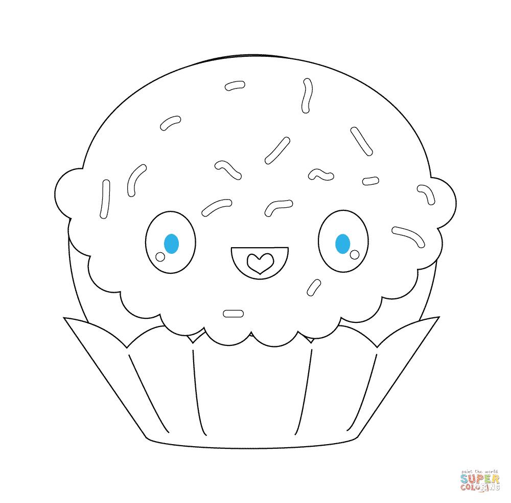 er sur la Cupcake avec les étincelles kawaii coloriages