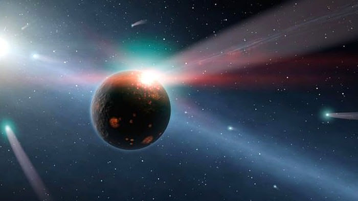 This artwork shows a rocky planet being bombarded by comets. Image credit: NASA/JPL-Caltech