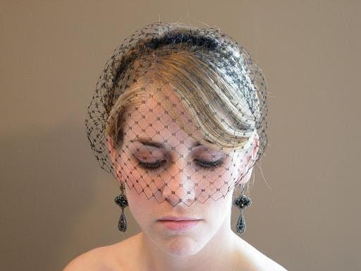 Black Short Blusher Birdcage Veil French Netting On Comb