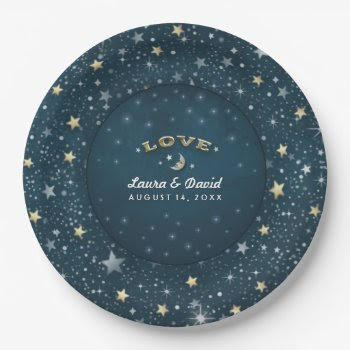 Teal White & Gold Love Moon & Stars Wedding 9 Inch Paper Plate by juliea2010 at Zazzle