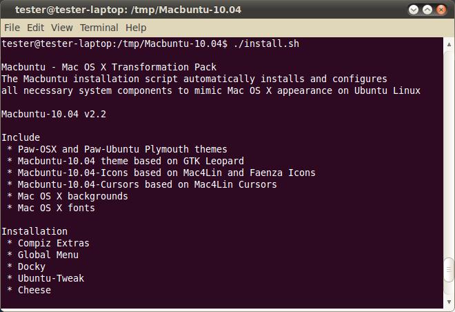 Macbuntu start