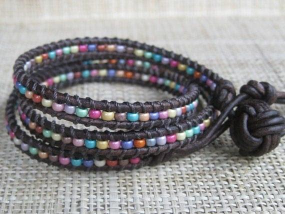 Confetti 3X Leather Wrap Bracelet