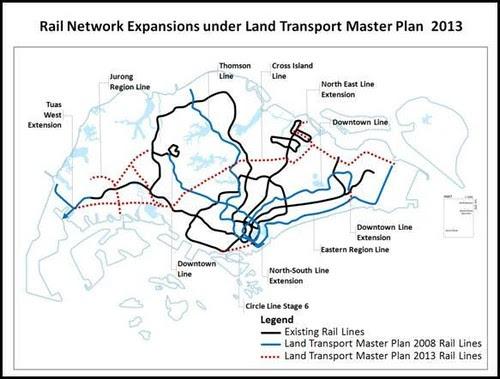 LTA: Rail Network Expansions, announced 17 Jan 2013