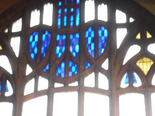 Charles Rennie Mackintosh church stained glass window glasgow blue heart rose art nouveau