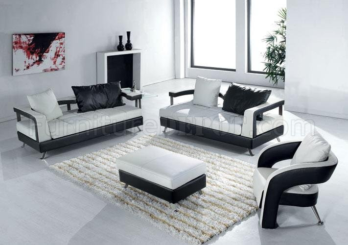 Black and White Leather Ultra Modern 4Pc Living Room Set
