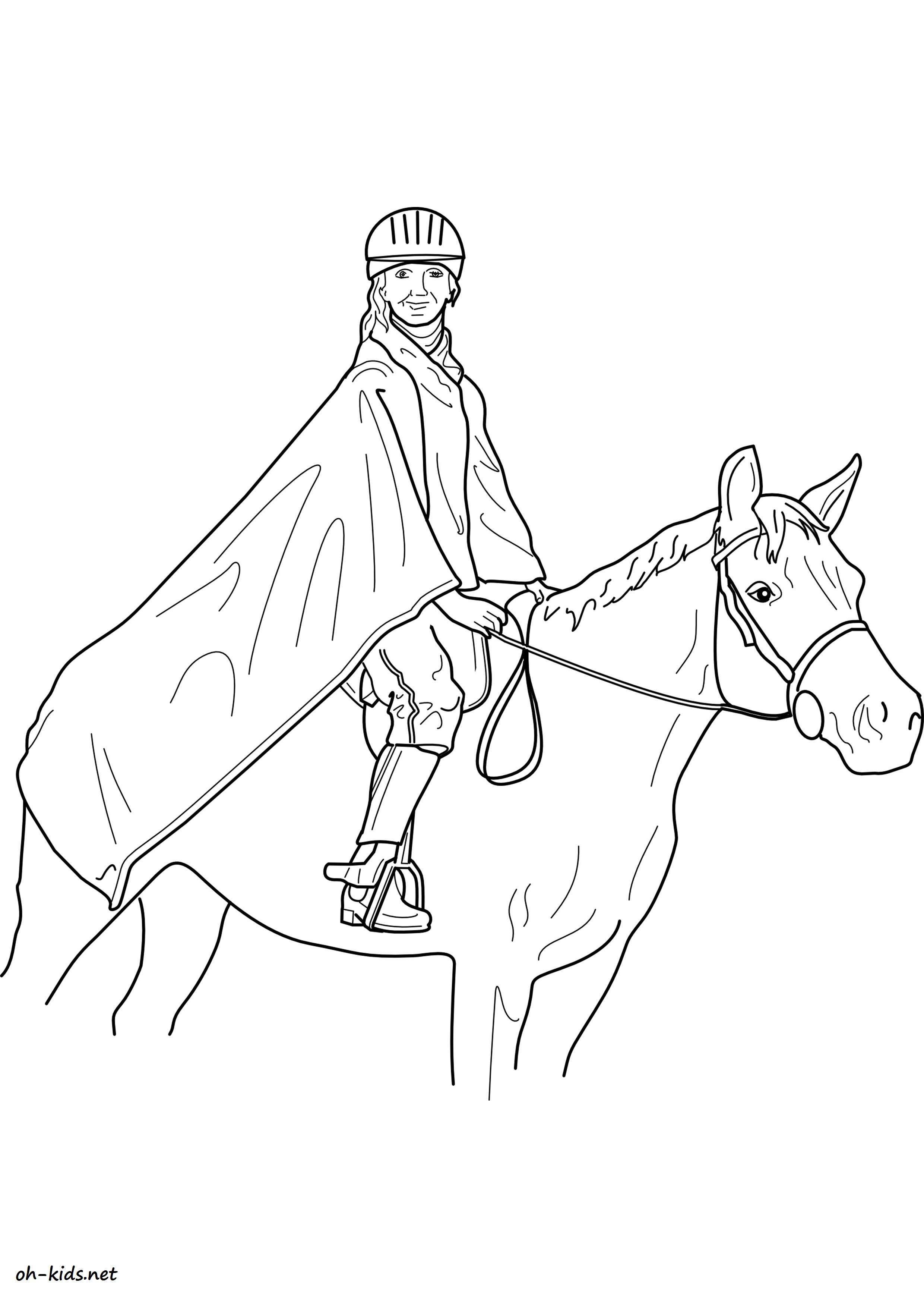 Image de équitation a imprimer et colorier Dessin 1373