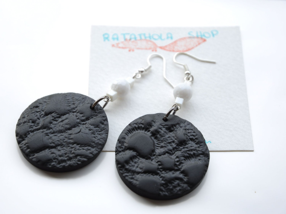 Black Earrings polymer clay