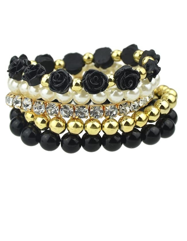 Black Gold Multilayer Bead Flower Bracelet