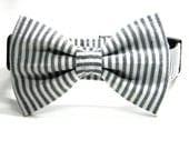 Dog Collar Bow Tie Set, Grey Seersucker Bowtie Collar: Classic Black and White Seersucker - PawshAccessories