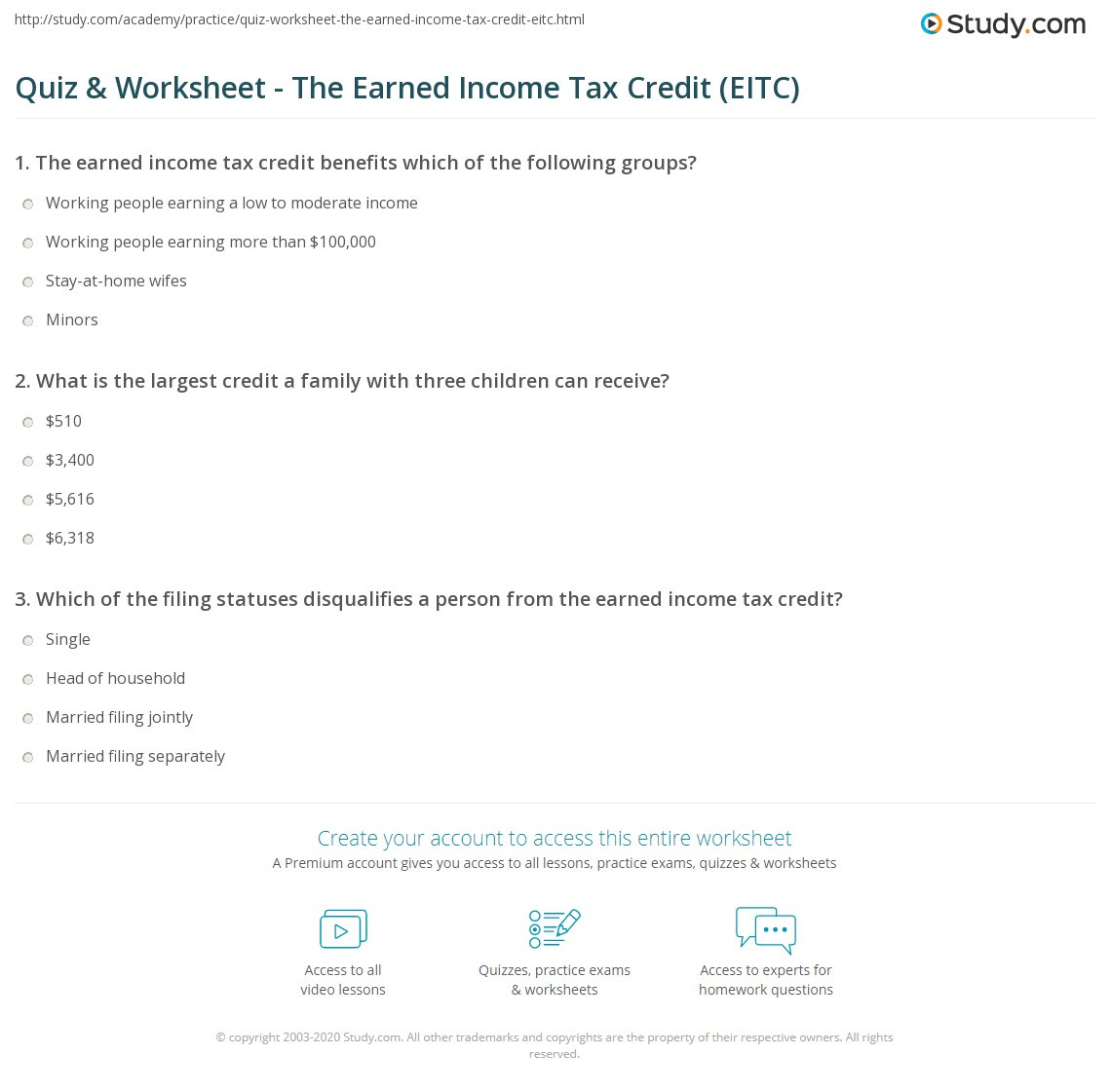 Quiz  Worksheet  The Earned Income Tax Credit EITC  Study.com
