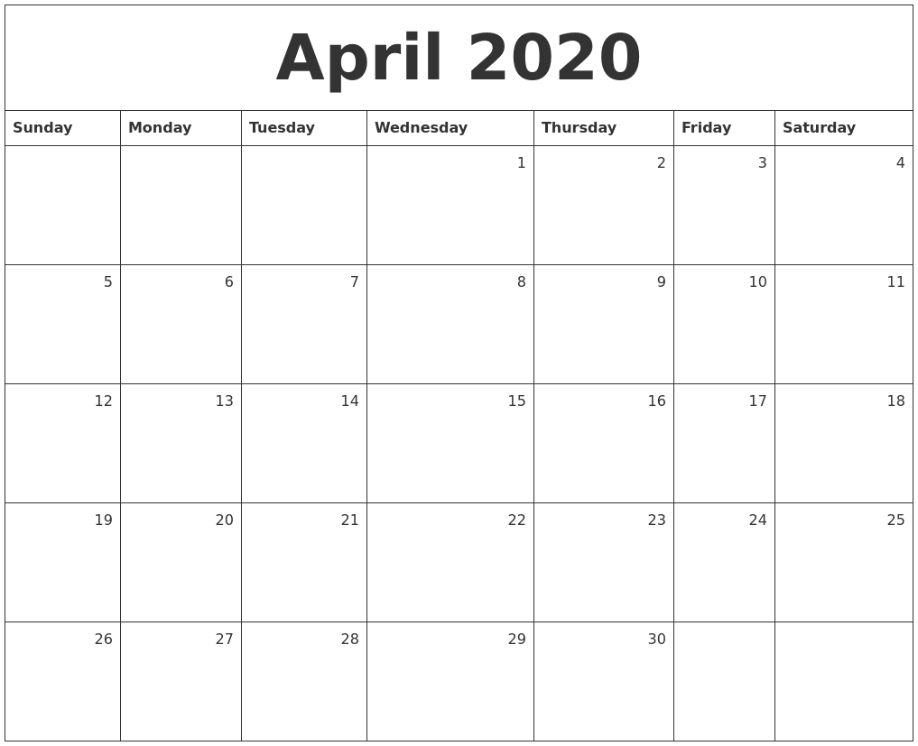 april 2020 monthly calendar full weekday