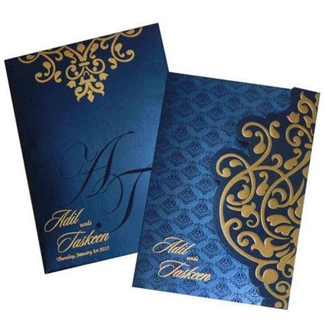 Blue And Golden Rectangular Elegant Wedding Cards, Rs 65
