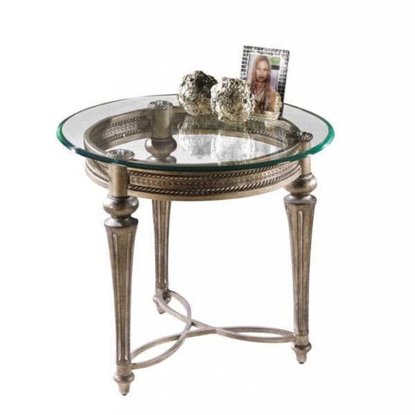 Wrought Iron Pewter Glass Top Round New Living Room Side ...