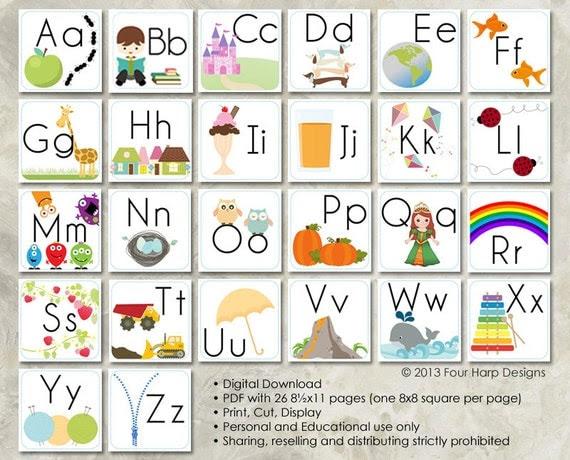 Alphabet Wall Cards DIY Printable for preschool early | Etsy