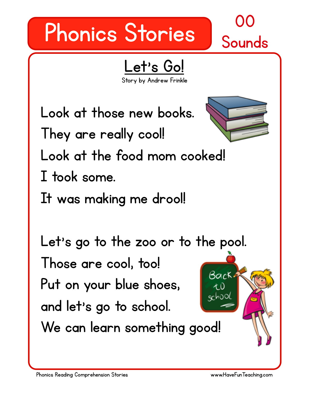 free phonics reading comprehension oo sounds
