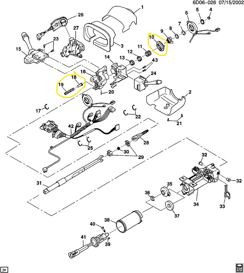 Steering Wheel Column Lock Picture Or Diagram Cadillac Owners Forum