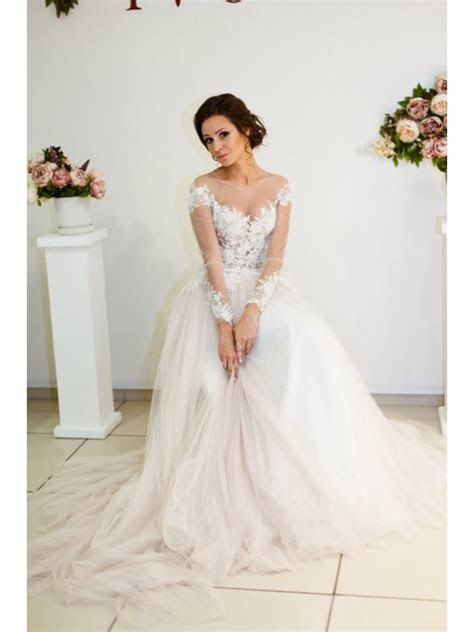 Sheer Long Sleeves Lace Tulle Wedding Dresses Bridal Gowns