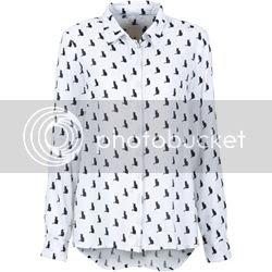 Boxy-Style Bluse mit Katzenprint