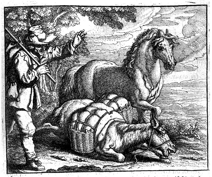 Rezultat slika za Aesop illustrations donkey and horse