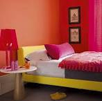 Bedroom: Bright Orange Wall Bedroom Decor And Pink Curtain, small ...
