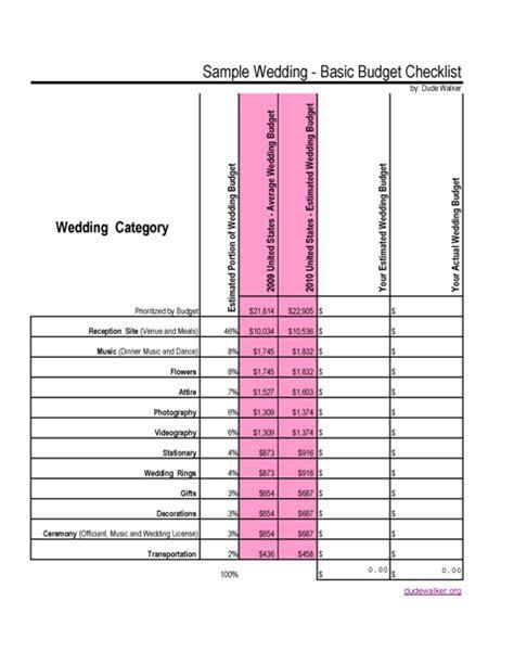 2010 Wedding Budget Checklist   Dude Walker