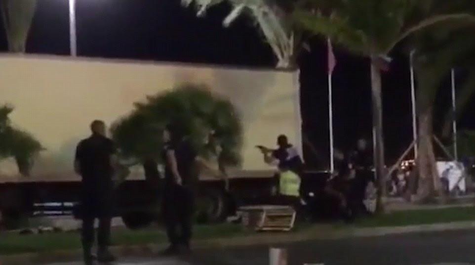 Last Stand: Uma testemunha filmou policiais armados que se aproximavam da cabine do caminhão e disparando através do seu pára-brisas e portas antes de aparecer Bouhlet pode ser ouvido gritando depois de ser atingido por uma bala da polícia