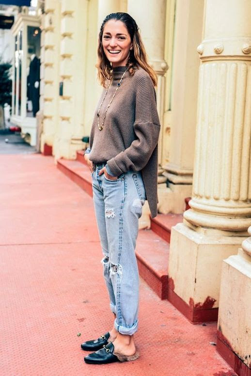 Le Fashion Blog Street Style Sofia Sanchez Barrenechea Brown Knit Long Necklace Light Wash Distressed Boyfriend Denim Gucci Fur Lined Mule Flats Via Tommy Ton